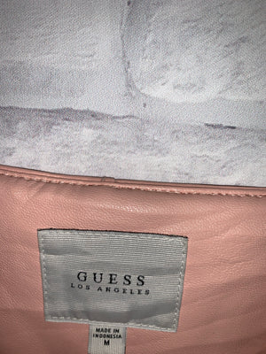 Salmon Pink Guess Los angeles Full Zip Leather Jacket