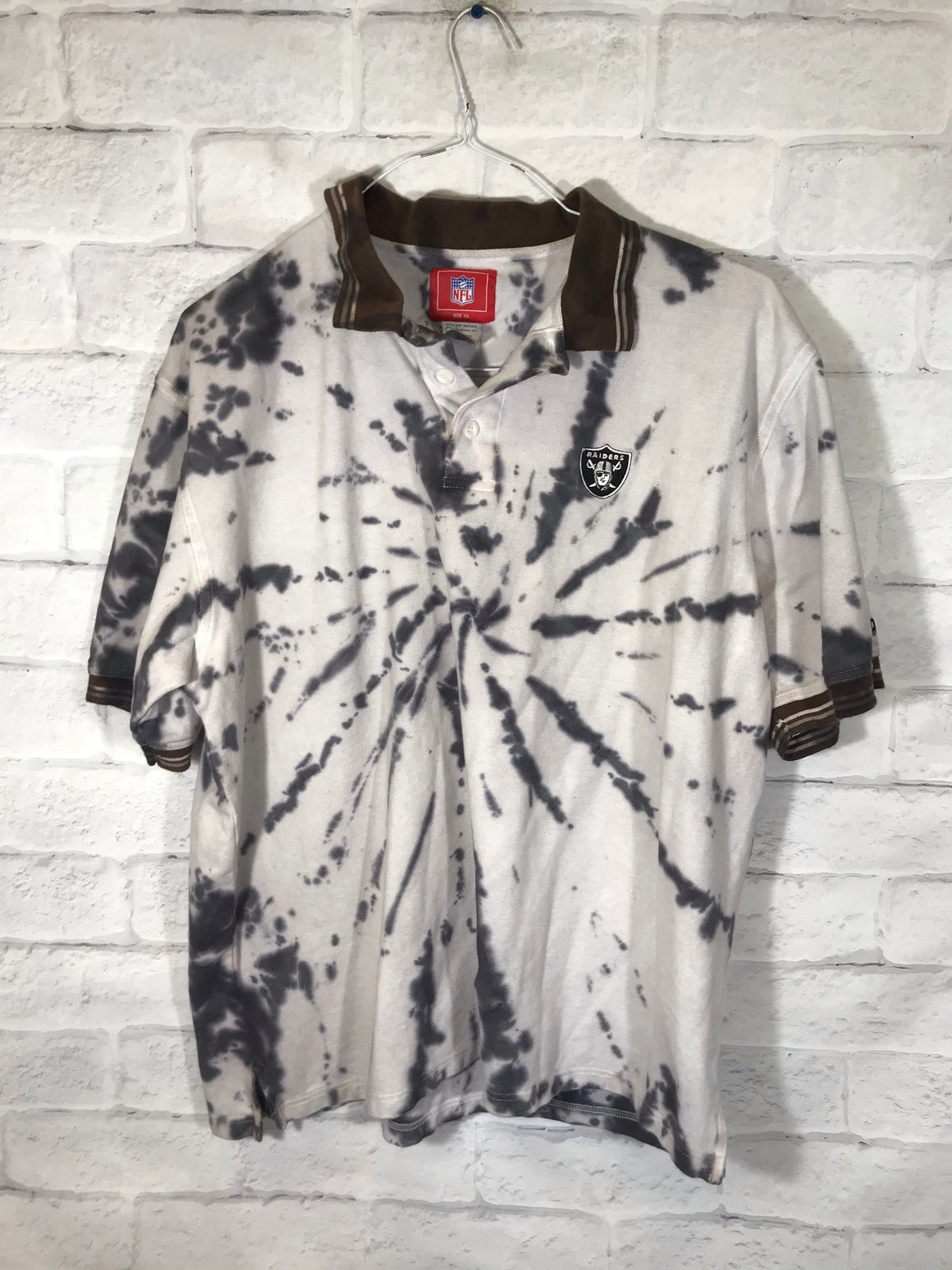 Oakland Raiders tye dye collar shirt SZ mens XL