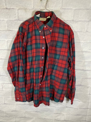 Red L.L. Bean Full Button Dress Shirt