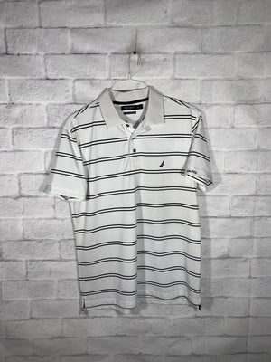 Vintage White & Black Nautica Quarter Button Golf Shirt