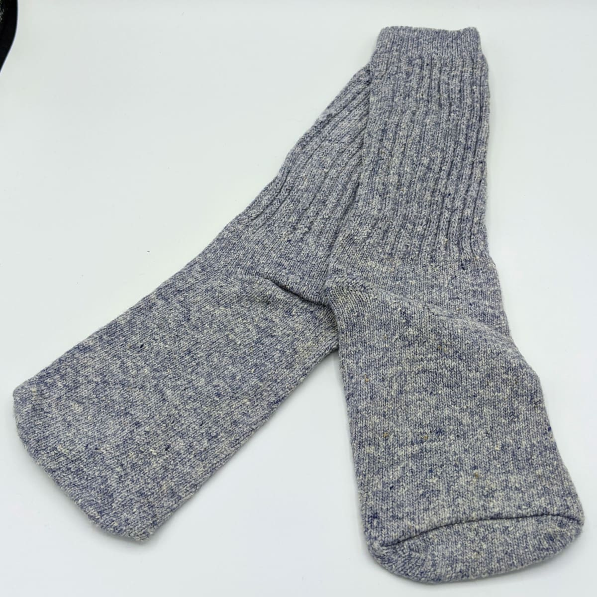 Ladies Socks - Machine Knit - Grey/Blue - Handmade