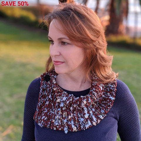 Ribbon Cowl - Handknit Sample - Copper - Handmade