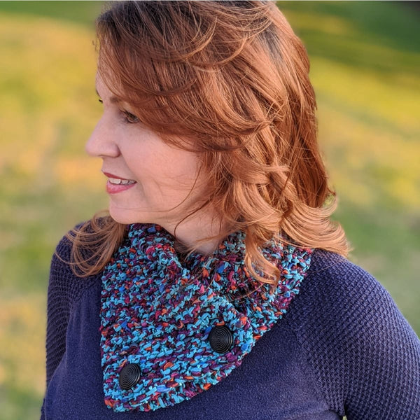 Ribbon Cowl - Handknit Sample - Teal - Handmade