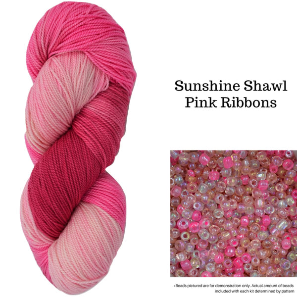 Sunshine Shawl - Pink Ribbons - Knitting Kit