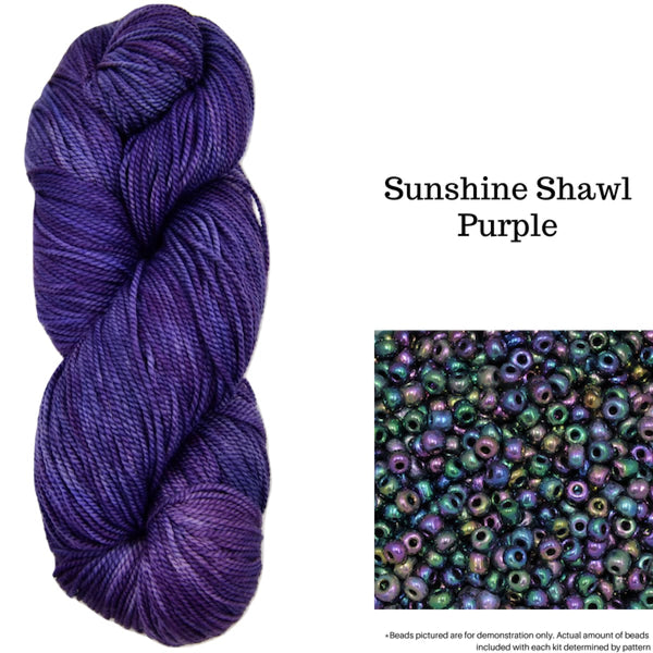 Sunshine Shawl - Purple - Knitting Kit