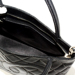 CHANEL Caviar Leather Medallion Tote Bag - Black