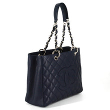 Load image into Gallery viewer, CHANEL Caviar Grand Quilted Shopping Tote Dark Navy Blue