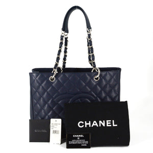 CHANEL Caviar Grand Quilted Shopping Tote Dark Navy Blue