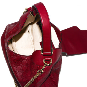 GUCCI Emily Guccissima Leather Ruby Hobo