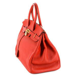 HERMES Birkin 35 Red Clemence Leather Bag