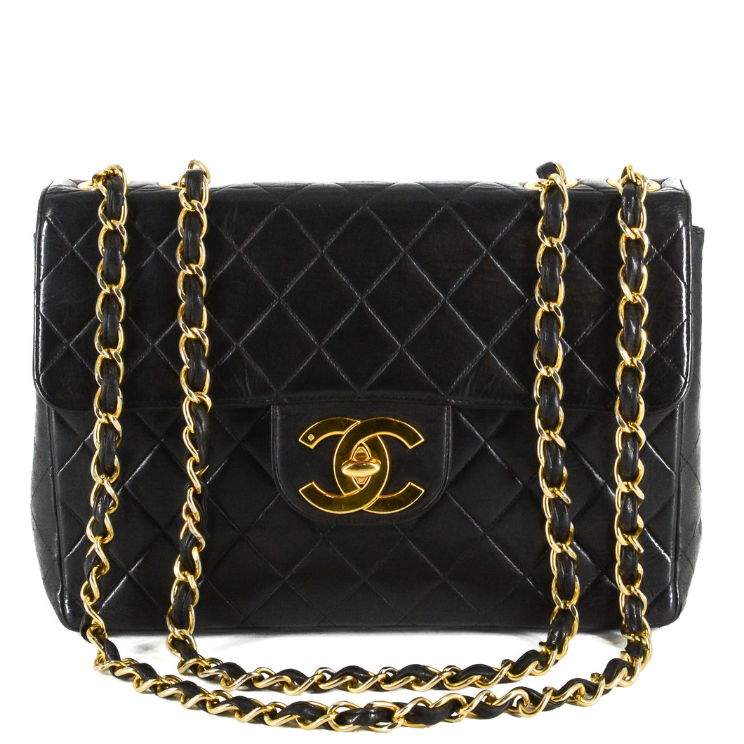CHANEL Lambskin Quilted Jumbo Single Flap Black