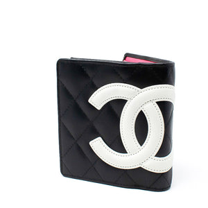 CHANEL Black X White Quilted Cambon 219426 Wallet