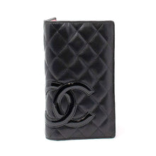 Load image into Gallery viewer, CHANEL Chanel Black Cambon Quilted Long Folding Wallet
