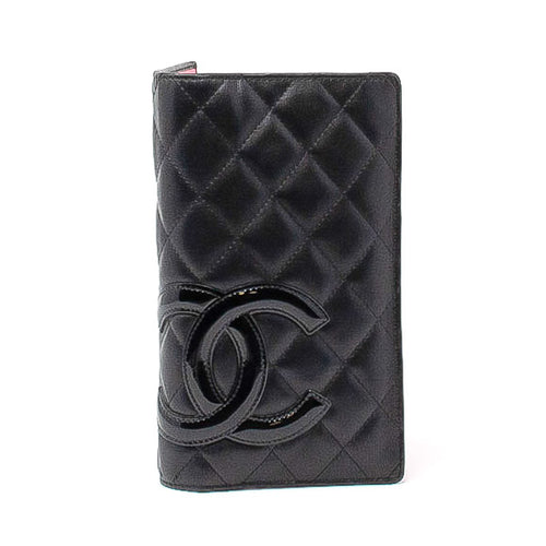 CHANEL Chanel Black Cambon Quilted Long Folding Wallet