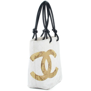 CHANEL Quilted Python Cambon Ligne Medium Tote