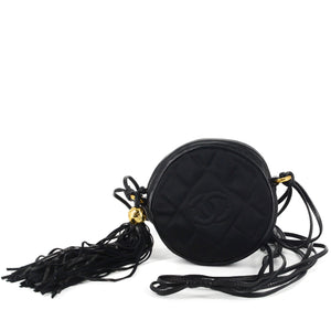 CHANEL Round Quilted Satin Mini Tassel Crossbody