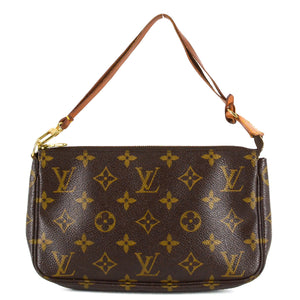 LOUIS VUITTON Monogram Canvas Leather Pochette Bag
