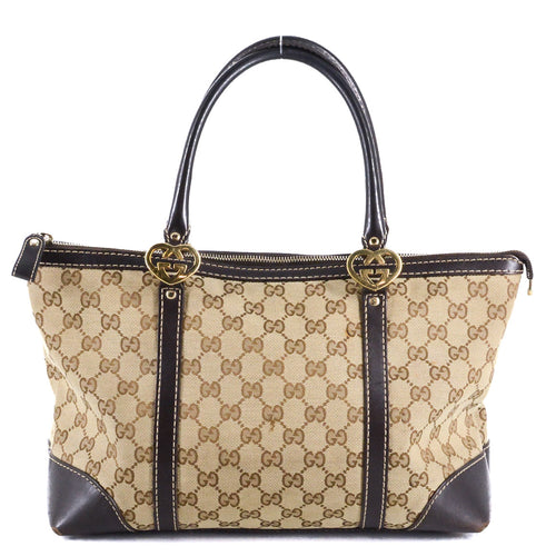 GUCCI Lovely Heart-shaped Interlocking G Small Guccissima Canvas Tote