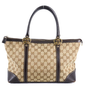 2bc7cd88bce GUCCI Lovely Heart-shaped Interlocking G Small Guccissima Canvas Tote