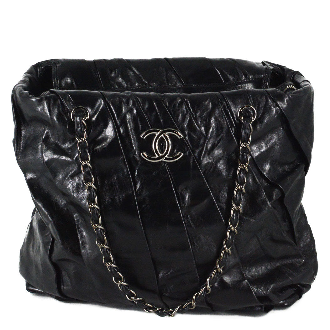CHANEL Glazed Calfskin Large Twisted Tote