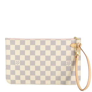 LOUIS VUITTON Damier Azur Neverfull MM/GM Pochette Rose Ballerine