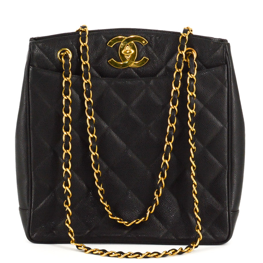 CHANEL Caviar Quilted Jumbo CC Shopper Shoulder Tote