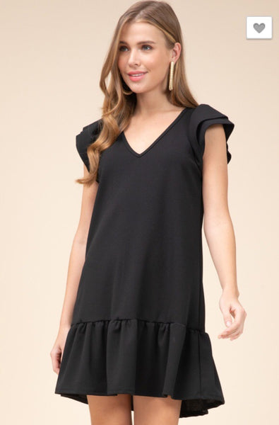 Solid Black Tiered Sleeve Dress