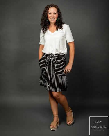 Black and White Striped Belted Skirt