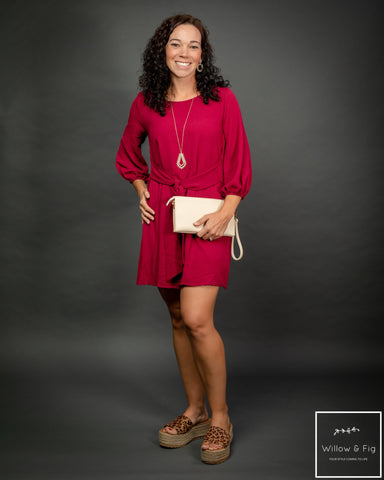 Merlot Puff Sleeve Dress