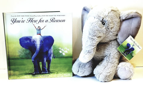 Steph's Tribe, Love Your Tribe, Best Kids Ice Pack, Ouchy Wrap Promo Club raffle tribe gifts, soft stuffed elephant, children's book You Are Here for A Reason, Wearable Ice Pack for Kids with Removable Gel Pack