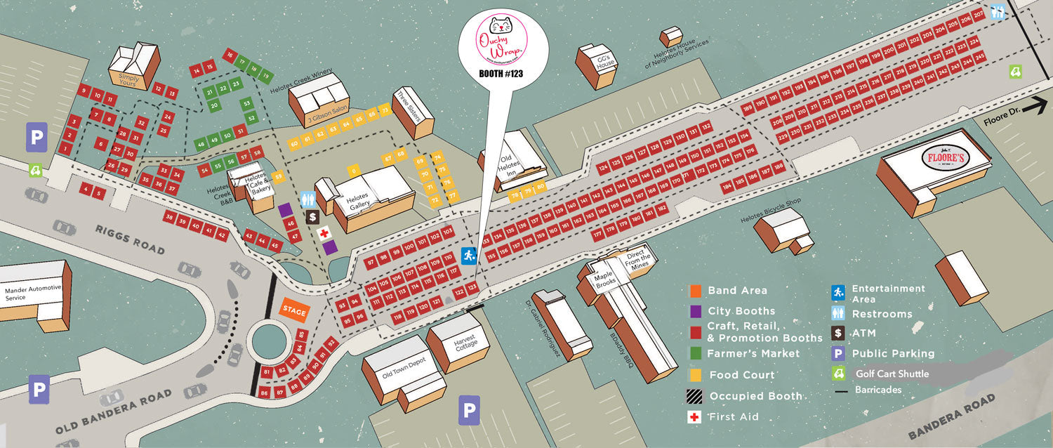 Ouchy Wraps Helotes Market Day Vendor Map