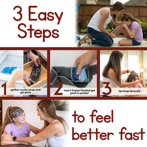 Ouchy Wrap--the best kids ice pack; 3 easy steps to feel better fast.