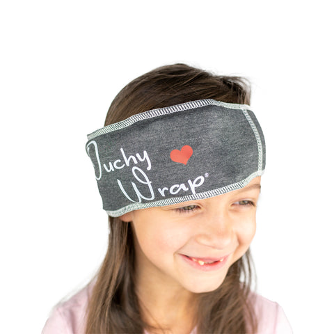 The best kids ice pack, the washable & wearable, reusable Ouchy Wrap® can easily be stretched over a head or other body part to reduce fever, pain, or sensory overload while comforting & calming kids and helping a sick child feel better fast.