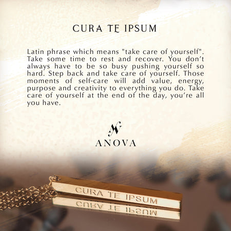 "CURA TE IPSUM Latin ""Take Care of Yourself"" Gold Bar Necklace + FREE RED Mini Flower Bouquet"