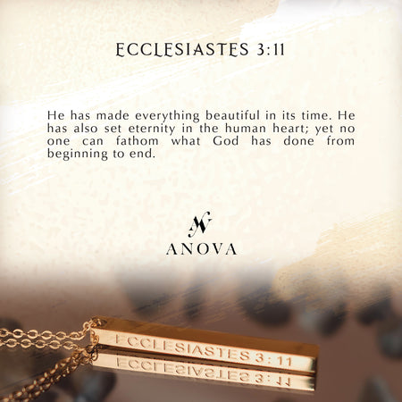 ECCLESIASTES 3:11 Gold Bar Necklace + FREE BLUE Bouquet