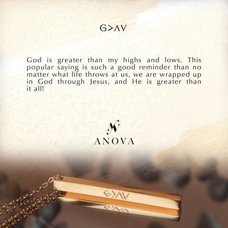 G>^v God is Greater than my highs and lows Gold Bar Necklace + FREE BLUE Mini Flower Bouquet