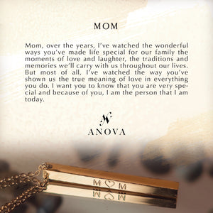 MOM Gold Bar Necklace + FREE BLUE Bouquet