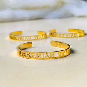 JEREMIAH 29:11 Gold Bangle Non tarnish with Gift Box & Paper Bag  (Buy 1 Take 1 FREE)