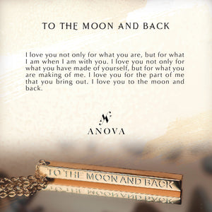 TO THE MOON AND BACK Gold Bar Necklace + FREE Violet Flower