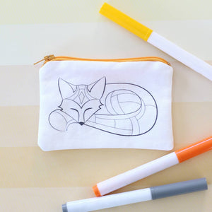 Fox Coin Purse - Coloring Kit with Markers