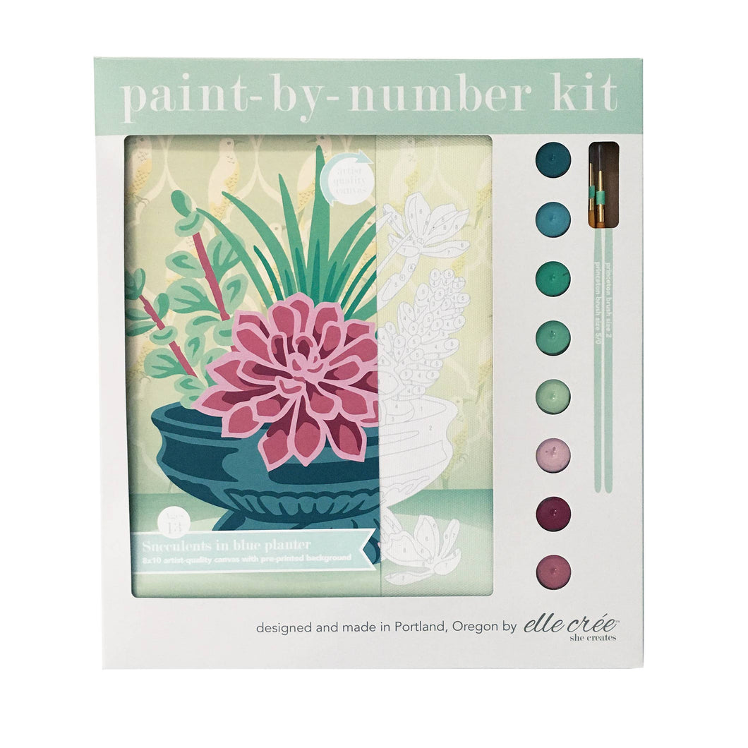 Succulents in Blue Planter Paint-by-Number Kit