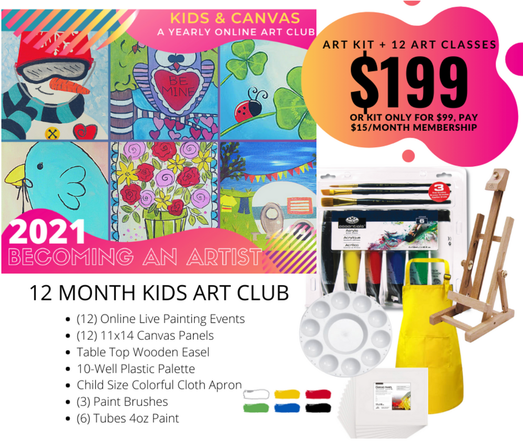 Monthly Art Club Subscription Supplies Kit + Monthly Subscription