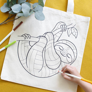 Sloth Organic Tote Bag - Coloring Kit with Markers