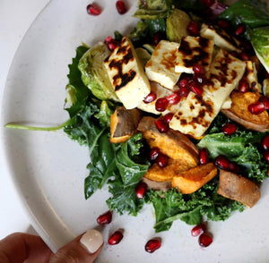 Haloumi | Sweet Potato | Crispy Brussels + Pomegranate salad | GF/SF