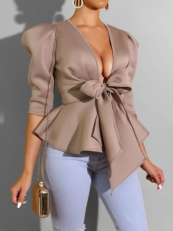 Princess Sleeve V-Neck Plain Three-Quarter Sleeve Standard Blouse