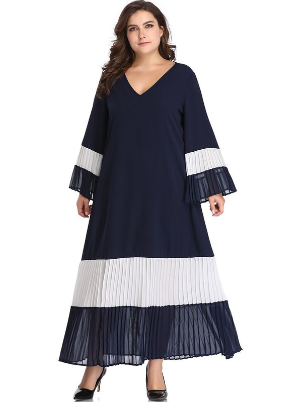 Pleated Ankle-Length V-Neck Pullover Flare Sleeve Dress
