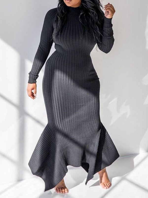 Stand Collar Floor-Length Asymmetric Pullover Mermaid Dress