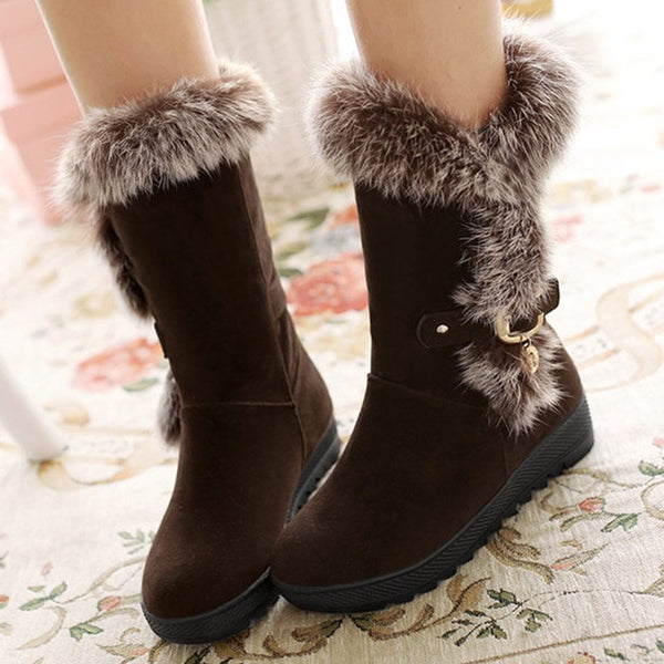 Plain Slip-On Round Toe Western Buckle Boots
