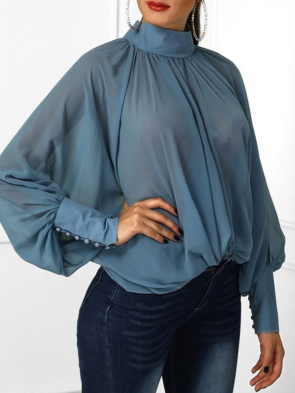 Batwing Sleeve Plain Long Sleeve Standard Blouses