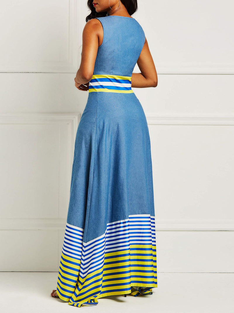 Patchwork Floor-Length Sleeveless Stripe Pullover Dress